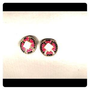 Stud earrings w/ pink black